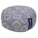 BLOOM Zafu Meditation Pillow Cushion, Round Yoga Bolster - Adjustable Buckwheat Hull Fill, Premium Cotton, Removable Washable Case, Carry Handle, Zipper