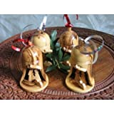 4 Olive Wood Bell Christmas Ornaments From Bethlehem