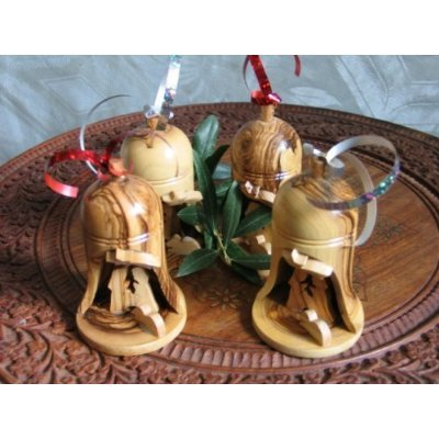 - Holy Land Imports 4 Olive Wood Bell Christmas Ornaments from Bethlehem