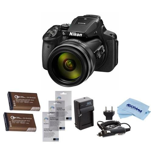 Nikon COOLPIX P900 Digital Camera, 83x Optical Zoom, BUndle With 2x Spare Batteries, 3x Screen Protectors, AC/DC Charger, Microfiber Cleaning Cloth (Equivalent Digital Camera Battery)