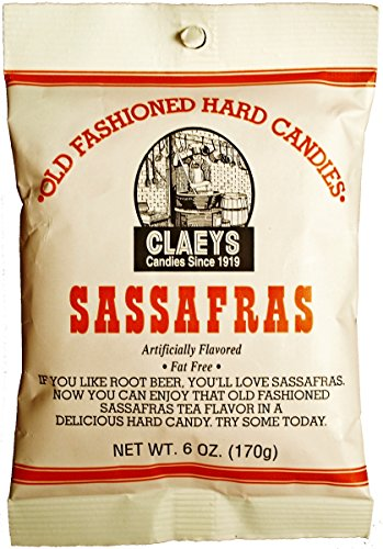 Clay Foods - Claeys' Hard Candy - Pick a Flavor - Anise, Apple, Assorted Fruit, Cherry, Cinnamon, Horehound, Lemon, Licorice, Peppermint, Root Beer, Sassafras, or Watermelon - 6 oz Bag (sassafras)