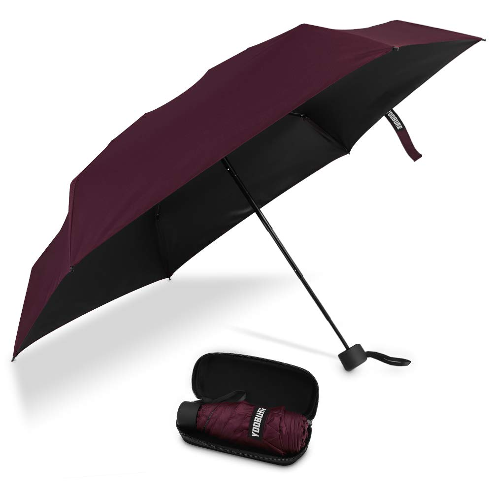 Yoobure Small Mini Umbrella with Case Light Compact Design Perfect for Travel (RED-New) by Yoobure