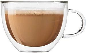 Oggi Set of 2 Double Walled Insulated 16-Ounce Borosilicate Glass Cappuccino Mugs