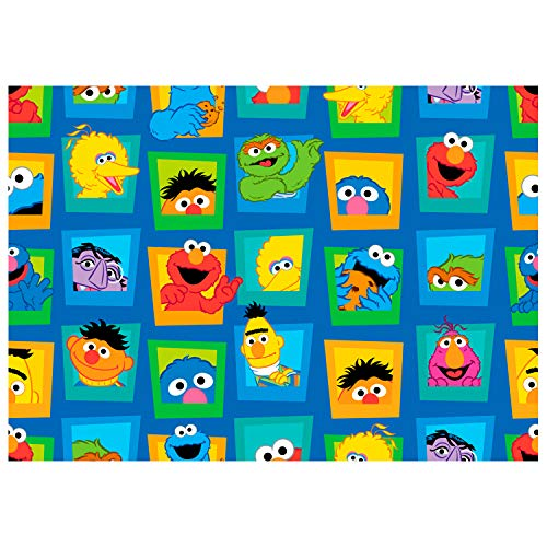 Exclusive Sesame Street Digital Character Faces Blue Fabric by The Yard]()