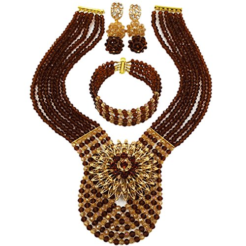Brooch Earring Jewelry Set (laanc Womens Wedding 6 Rows Champagne Gold AB and Multicolor Crystal Beads African Jewelry Sets (Brown Champagne Gold AB))