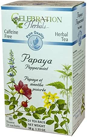 CELEBRATION HERBALS Papaya Peppermint Tea Organic 24 Bag, 0.02 Pound