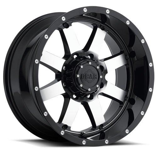 22X12 6-135 & 6-5.5 Gear Alloy 726M Big Block Gloss Black/Machined Wheels ()