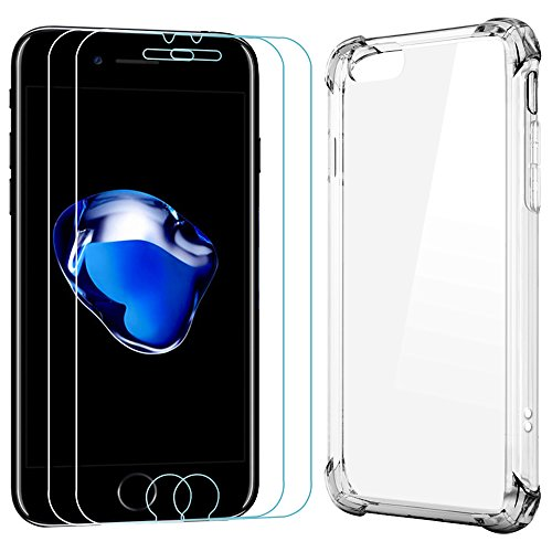 2 Screen Protectors for iPhone 7 & 1 Protective Case, AFUNTA 2 Pack Anti-Scratches Tempered Glass & 1 Shockproof Transparent Cover Case for Apple iPhone 7, 4.7