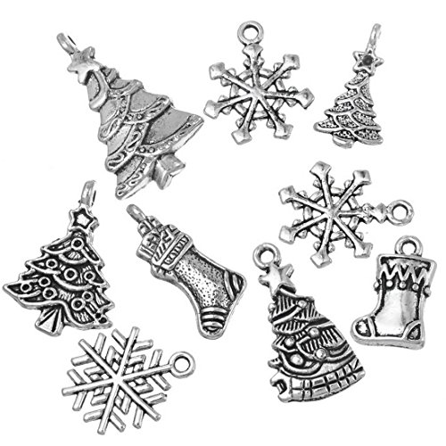 Souarts Mixed Christmas Charms Pendants for Necklace Making (40pcs silver ()