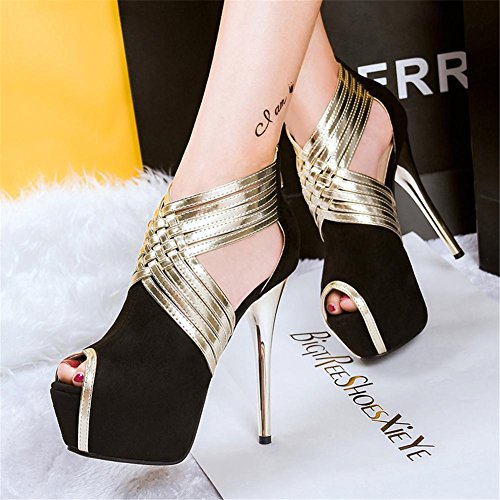 37 Sexy piattaforma UK Scarpe 5 4 Donna Discoteca alto Stiletto Festa Attraversare sandali Vestito L EUR Tacco 5 cinghie XIE scamosciato Nero 8nwEU1qWxT