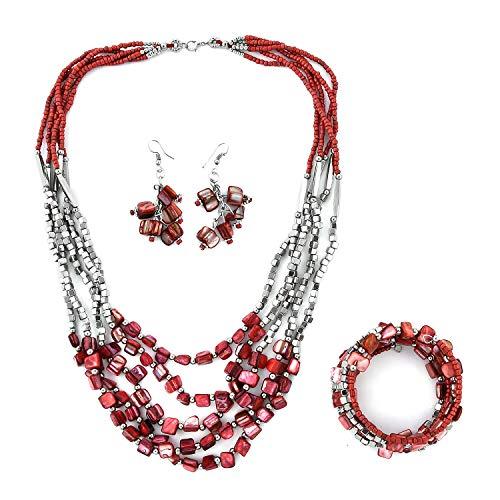 "Handmade Coastal Red Seed Bead Earrings Wrap Bracelet Multi Strand Necklace Stainless Steel Boho Handmade Jewelry Set 22"""