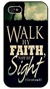 Walk by faith not by sight - 2 Corinthians 5:7 - Bible verse iPhone 5 / 5s black plastic case / Christian Verses