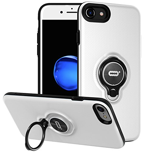 iPhone 8 Case/iPhone 7 Case with Ring Holder Kickstand Function, 360 Degrees Rotating Ring Holder Grip Case Ultra Slim Thin Hard Cover for iPhone 8 / iPhone 7(4.7inch) (White)