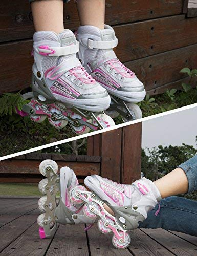 Kuxuan Saya Inline Skates Adjustable for Kids,Girls Rollerblades with All Wheels Light up,Fun Illuminating for Girls and Ladies - Small by Kuxuan (Image #6)