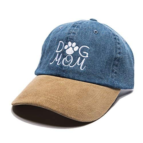 Beanie Bliss Dog Mom Baseball Cap Embroidered Dad Hat Unstructured Low Profile Adjustable Strap Back (Denim Suede)