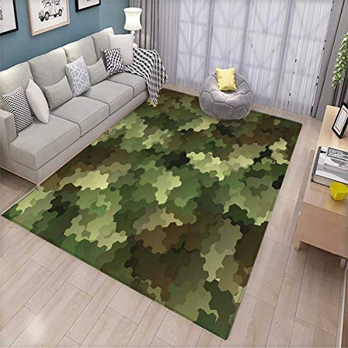 Camo Kids Carpet Playmat Rug Frosted Glass Effect Hexagonal Abstract Being Invisible Woodland Print Door Mats for Inside Non Slip Backing Green Pale Green and Brown