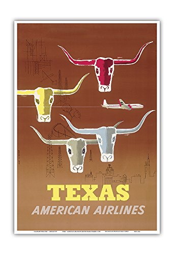 Texas - Longhorns - American Airlines - Vintage Airline Travel Poster by Joseph Charles Parker c.1953 - Master Art Print - 13in x 19in