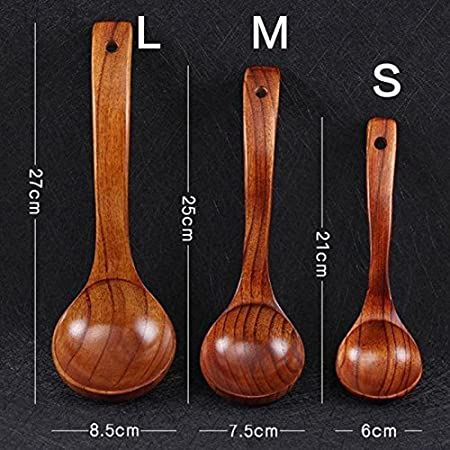 Gold Happy Natural Wood Wooden Long Handled Rice Soup Cooking Spoons Handmade Japanese Style Kitchen Utensil Ladle Tableware S M L 1pcs G30