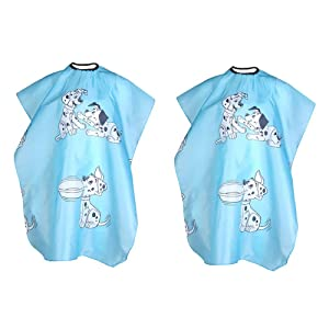YASUOA 2 Pieces Hair Salon Apron Cute Cartoon Dog Printed Kid Hairdressing Cape Barber Shop Hair Styling Wrap Haircut Cover Waterproof Polyester Taffeta for Children Home Barbershop Blue Cloth