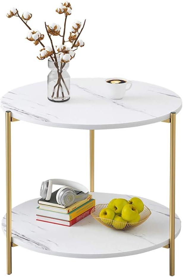 Verken Saladplates-LXM Unieke salontafels, bijzettafel, woonkamer met opbergplank, 2 lagen nachtkastje, bijzettafel woonkamer, ronde tafel, kleine ruimte, 39,5 x 40 cm wit BVT4V8G