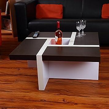 Melko® Couchtisch Wohnzimmertisch schwarz / weiß, 80x80x35 cm ...