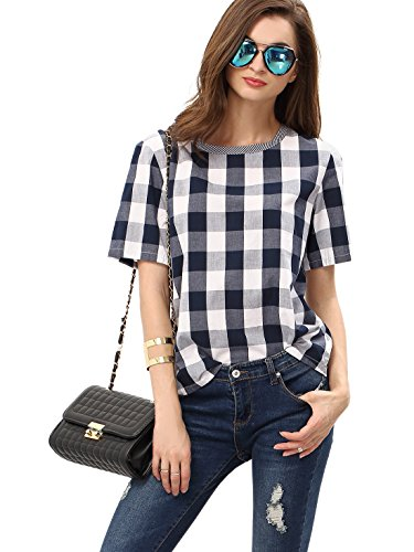 WDIRARA Women's Check Round Neck Short Sleeve T-Shirt Grey M