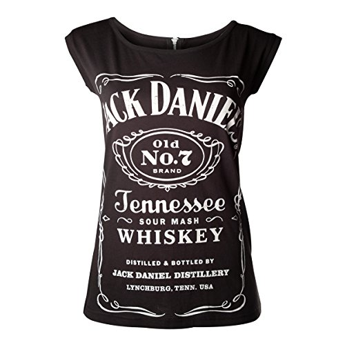 Jack Daniels Women's Logo Zip Back T-Shirt Small Black