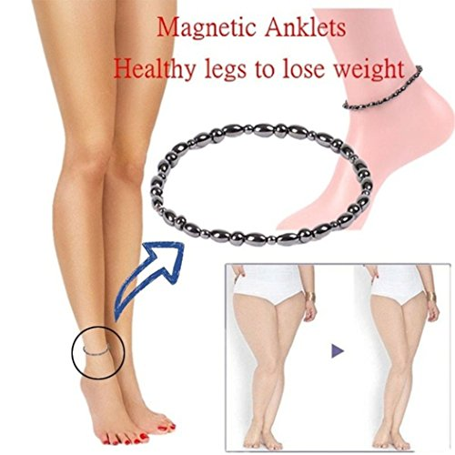 KaiKBax Vintage Black Magnetic Therapy Anklet Beads Foot Chain Healthy Weight Loss Ankle Bracelet Unisex Jewelry