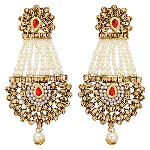 a22364a185bd5 Jwellmart Indian Ethnic Partywear Traditional Gold Plated Jhumka Dangle  Faux Pearl CZ Earrings for Women and Girls (Red)
