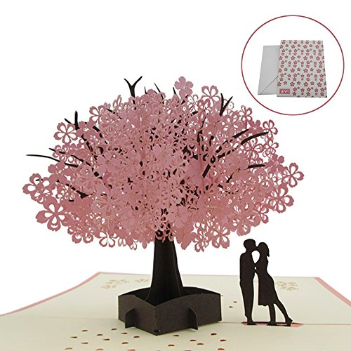 AIVN Anniversary Gifts for Her, Handmade Pop Up Anniversary Card for Wife, Wifes birthday gift, Cherry Blossom Anniversary