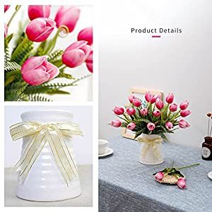 YILIYAJIA Artificial Tulips Flowers with Ceramics Vase Fake Tulip Bridal Bouquets Real Touch Flowers Arrangement for Home Table Wedding Office Decoration 4