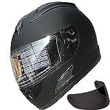 Motorcycle Street Sport Bike Helmet Full Face Helmet FF10 2 Visors Comes with Clear Shield and Free Dark Tinted Shield (Matt Black, XL)