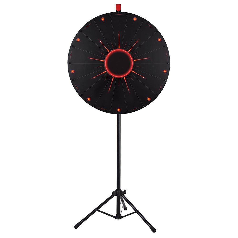 WinSpin™ 30'' LED Light Prize Wheel of Fortune 18 Slot Floor Stand Tripod Tradeshow Carnival