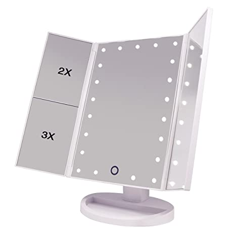LED Makeup Mirror   Trifold Lighted Vanity Mirror Portable Travel Cosmetic  Mirror Battery Electric Usb Chargeable