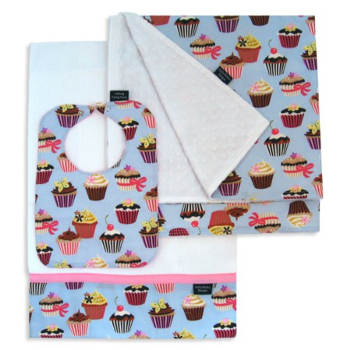 Cupcake Bib, Burp Cloth and Receiving Blanket Set by Lucky Ducky Designs