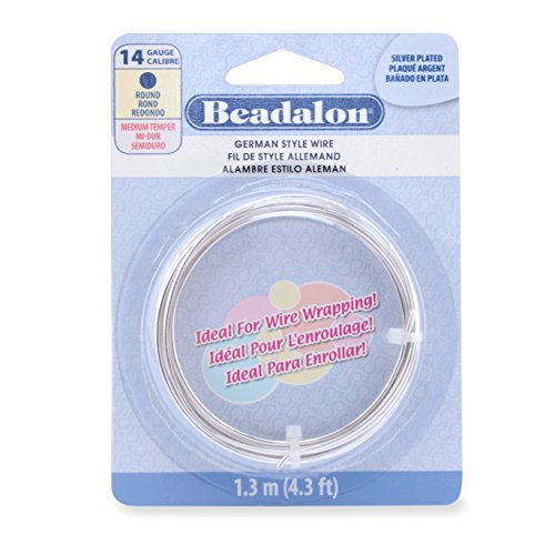 014 Gauge - Beadalon German Style Wire, Round, Silver Plated, 14 Gauge, 1.3 Meters