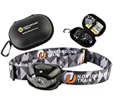Ultra-Bright LED Headlamp Flashlight Plus Hard Case for Running, Camping, Hiking. White-Red-Strobe Lights with Dimmer, only 3.2oz, Waterproof IPX 4 with 3 Energizer AAA Batteries