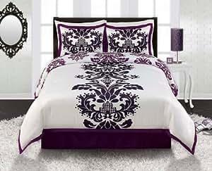 Amazon Com Royal Purple White Black Damask Comforter Sham