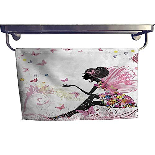 Girls Extra Wide Bathroom Accessories Fairy Girl with Wings in a Floral Dress Magical Fantasy Garden Flying Butterflies Luxury Hand Towels Set W 14