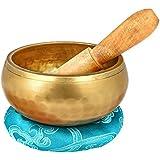 Reehut Tibetan Meditation Yoga Singing Bowl Set With Mallet & Silk Cushion - For Meditation, Chakra Healing, Prayer,Yoga, and Mindfulness
