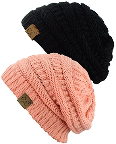 Chunky Peach - C.C Trendy Warm Chunky Soft Stretch Cable Knit Beanie Skully, 2 Pack Black/Peach