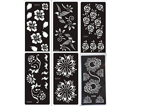 mehandi Plantillas Juego Flores 6Sheets para Henna, Glitter Tattoo y Air Brush Tattoo–Acción solo para Corto Tiempo Beyond Set Blumig