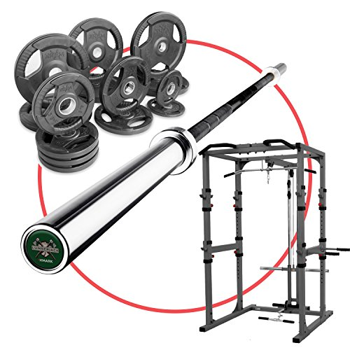 XMark Ultimate Home Gym POWER CAGE Package Featuring Our Power Cage, 255 lb. Set of Olympic Plates, and the XMark LUMBERJACK Olympic Bar by XMark