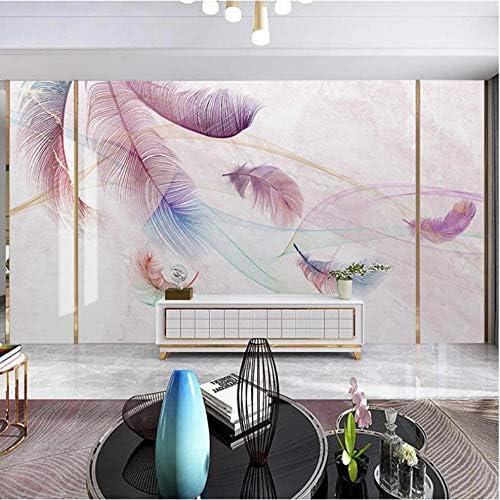 カスタム写真壁紙ピンクの羽3D抽象煙大壁画リビングルームテレビの背景壁アート大理石防水壁紙-150X120CM