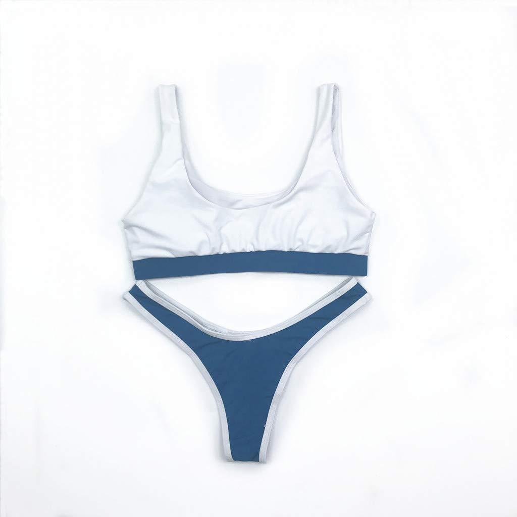 61cdbbf89 Amazon.com  bikini Hurrybuy Women s Halter Print Short Sleeve Split Sexy  Swimsuit Beachwear White  Clothing