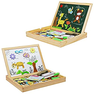 Becko Magnetic Jigsaw Puzzle Board Wooden Toys Multifunctional Travel Drawing Board Double Sided with Erase and Black Board, Animal and Plant Puzzle (Animal) : Baby