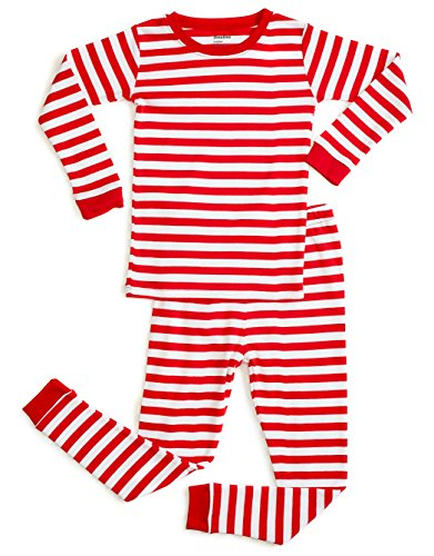 DinoDee Red & White Stripes Pajama 6 (White Boys Pajamas)