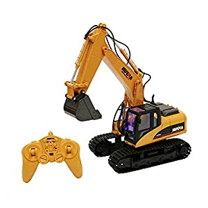 Remote Control Excavator - Fully Functional 15 Channel Die-Cast Construction Tractor – Lights, Sounds, Independently Rotating Workbench, Cab and Metal Shovel – by ToyThrill