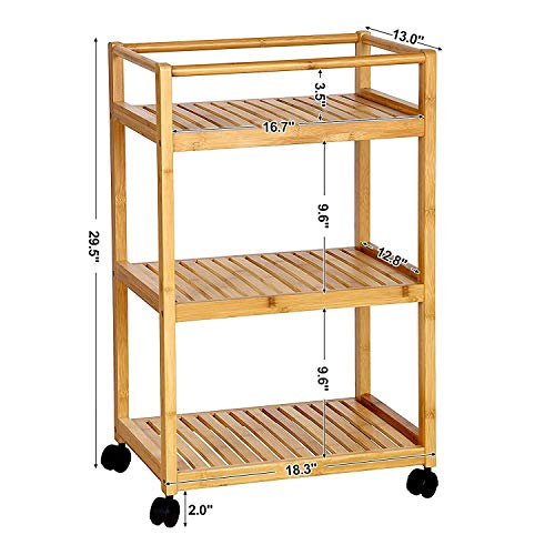 Trustiwood Bathroom Storage Cart Serving Bar Cart Utility Trolley Organizer Rack with 3 Shelves and Locking Wheels for Kitchen Living Room Bamboo Wood by Trustiwood (Image #6)