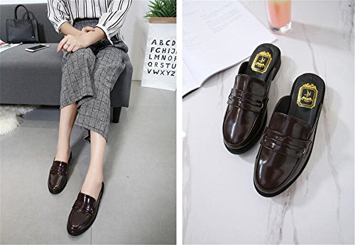 Loafers Mule Womens for On Backless Women Slippers Loafers Slip Brown Loafers AGoGo zqI4OO